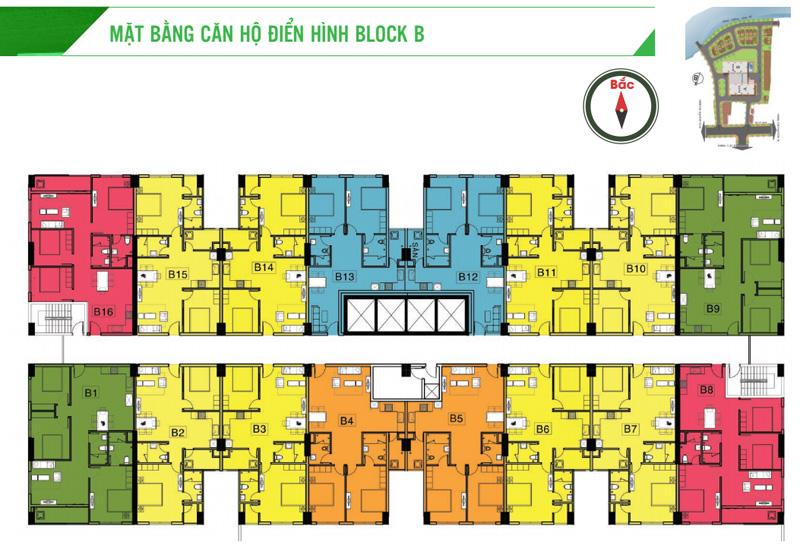 mặt bằng Block B - căn hộ Homy land 3